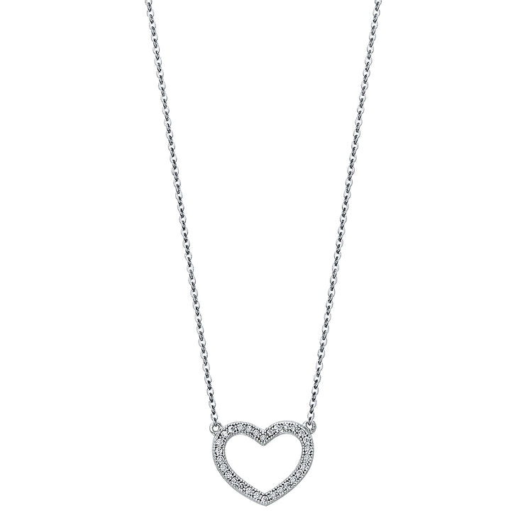 14K Gold Open Heart Pave CZ Necklace - 17+1'