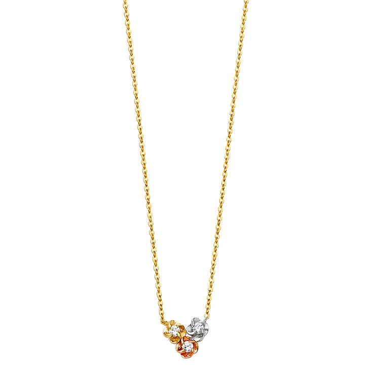 14K Gold Flower CZ Pendant Charms Chain Necklace - 17+1'