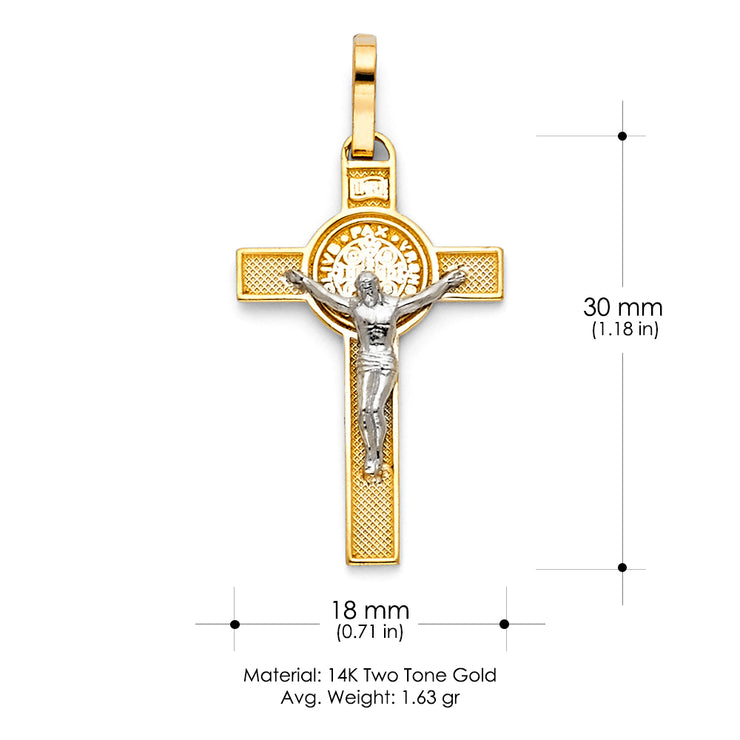 14K Gold Jesus Crucifix Cross Religious Pendant