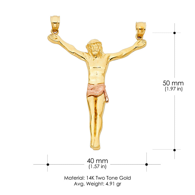 14K Gold Jesus Body Crucifix Cross Religious Pendant