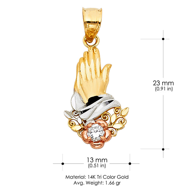 14K Gold Praying hands Religious Pendant With CZ