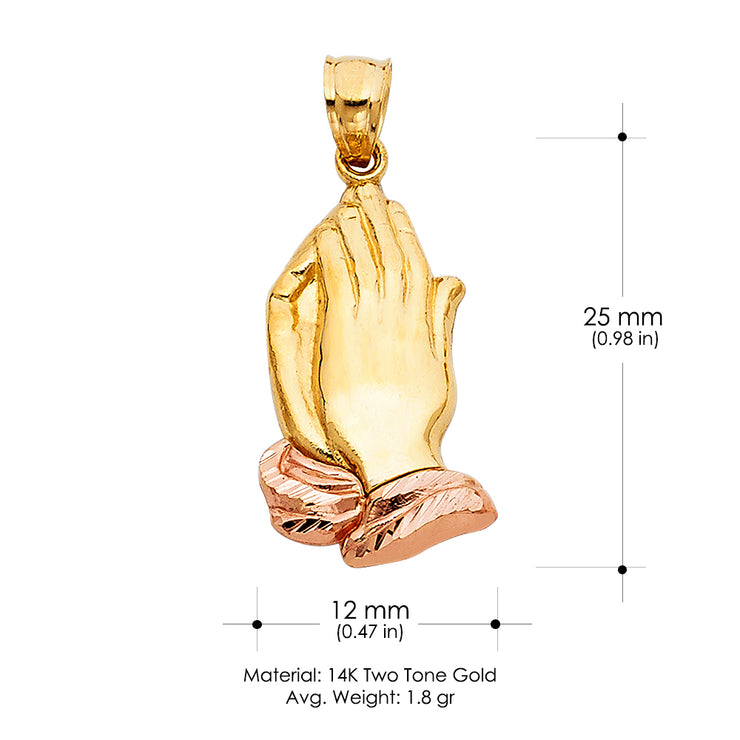 14K Gold Praying hands Religious Pendant