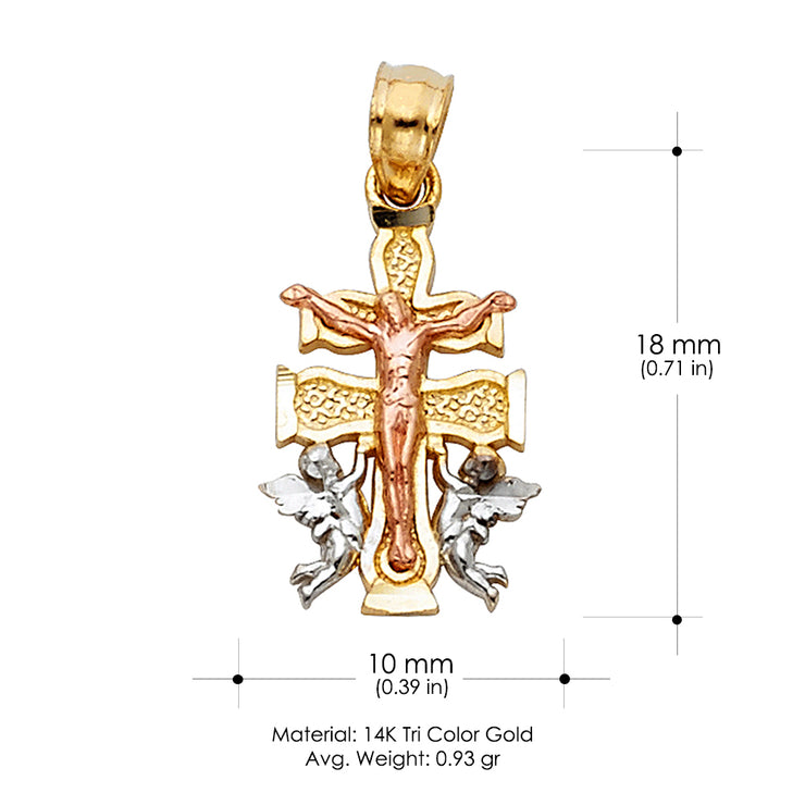 14K Gold Jesus Crucifix Cross of Caravaca Religious Pendant