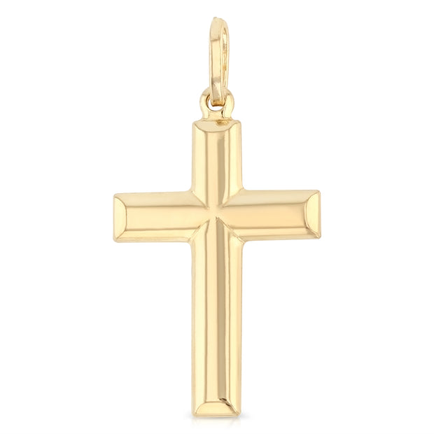 14K Gold Simple Cross Religious Pendant
