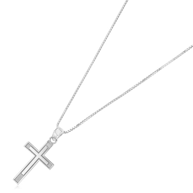 14K Gold Cross Religious Charm Pendant with 1mm Box Chain Necklace