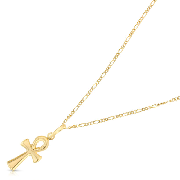 14K Gold Egyptian Ankh Cross Pendant with 1.6mm Figaro 3+1 Chain