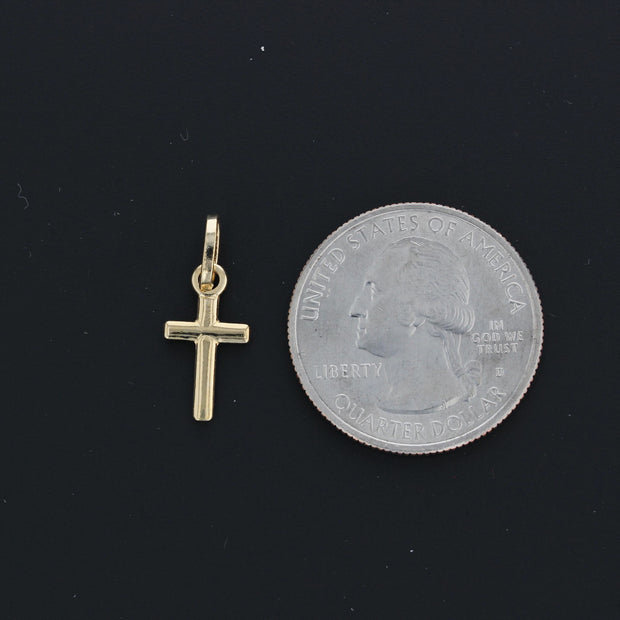 14K Gold Plain Cross Religious Pendant