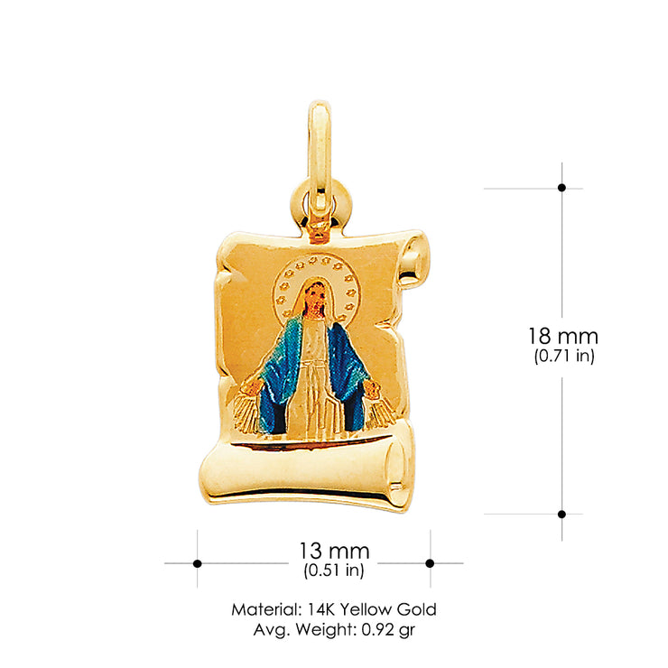 14K Gold Blessed Virgin Enamel Religious Pendant
