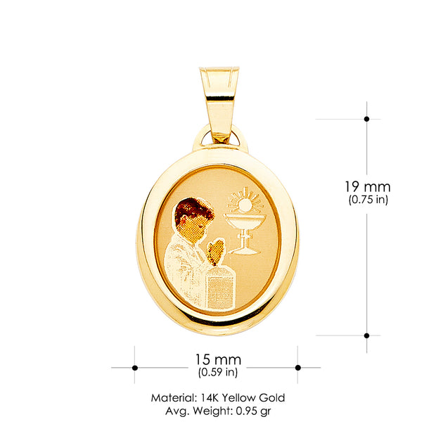 14K Gold Communion Enamel Boy Pendant with 1.5mm Flat Open Wheat Chain