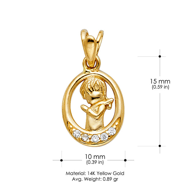 14K Gold CZ Girl Prayer Religious Pendant