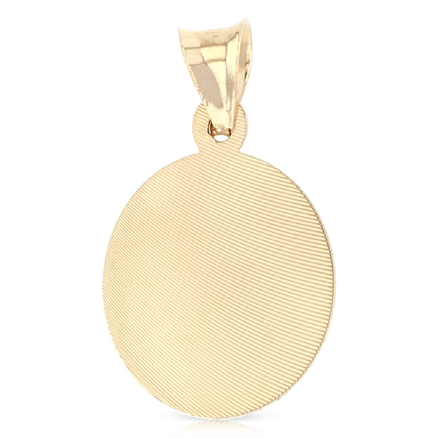 14K Gold Diamond Cut Guadalupe Stamp Charm Pendant with 0.9mm Wheat Chain Necklace
