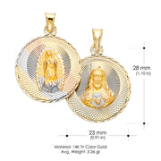 14K Gold Diamond Cut Double Side Stamp Virgin Mary & Jesus Religious Pendant