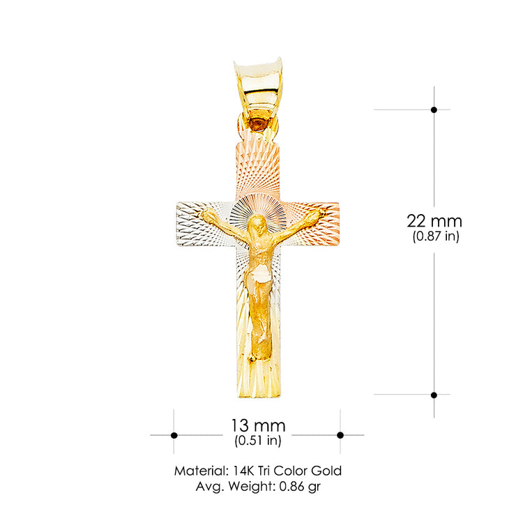 14K Gold Diamond Cut Crucifix Jesus Cross Stamp Religious Pendant