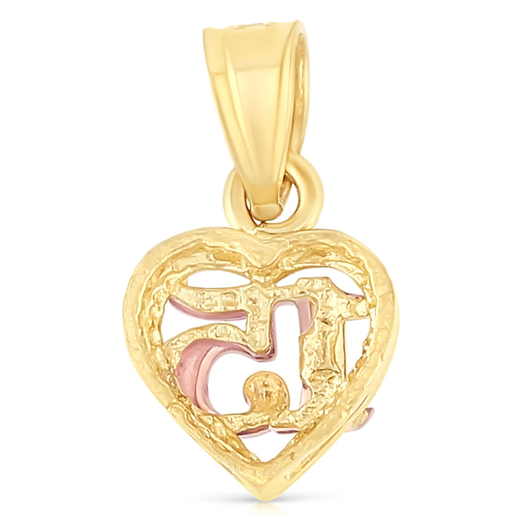 14K Gold 15 Years Birthday Quinceanera Heart Charm Pendant