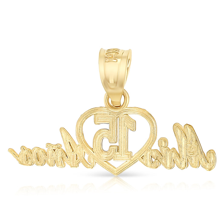 14K Gold 15 Years Birthday Quinceanera Heart Mis 15 Anos Charm Pendant