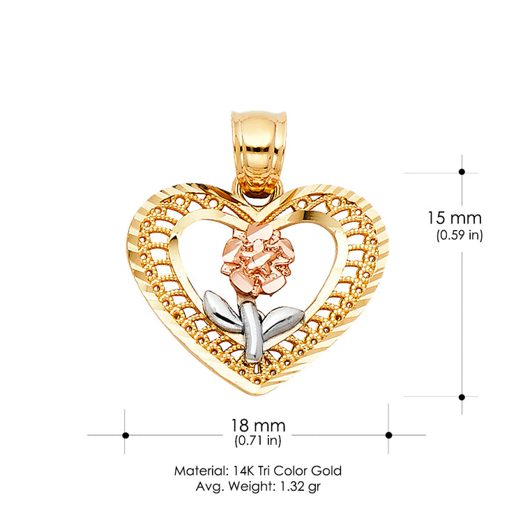 14K Gold Flower in Heart Charm Pendant