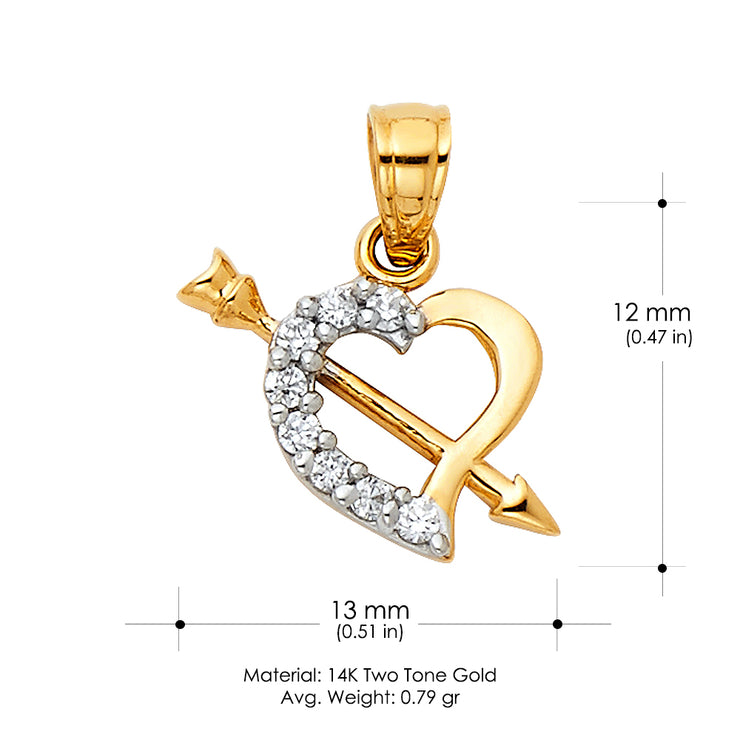 14K Gold CZ Heart With Cupid Arrow Charm Pendant