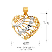 14K Gold Fancy Heart Charm Pendant