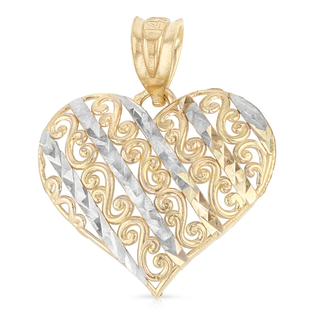 14K Gold Fancy Design Heart Charm Pendant with 0.8mm Box Chain Necklace