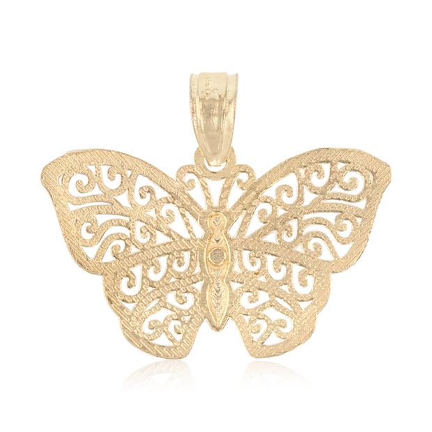 14K Gold Butterfly Pendant with 1.5mm Flat Open Wheat Chain