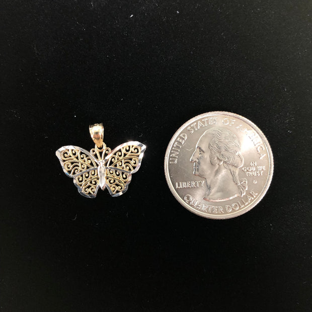 14K Gold Butterfly Pendant with 2mm Figaro 3+1 Chain
