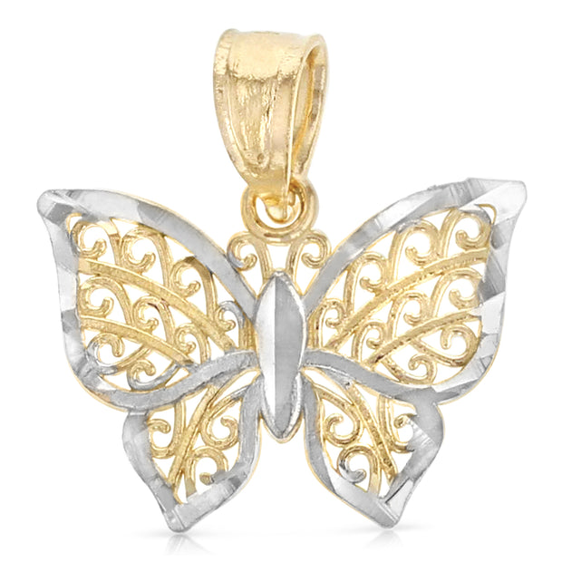 14K Gold Butterfly Pendant with 0.9mm Singapore Chain
