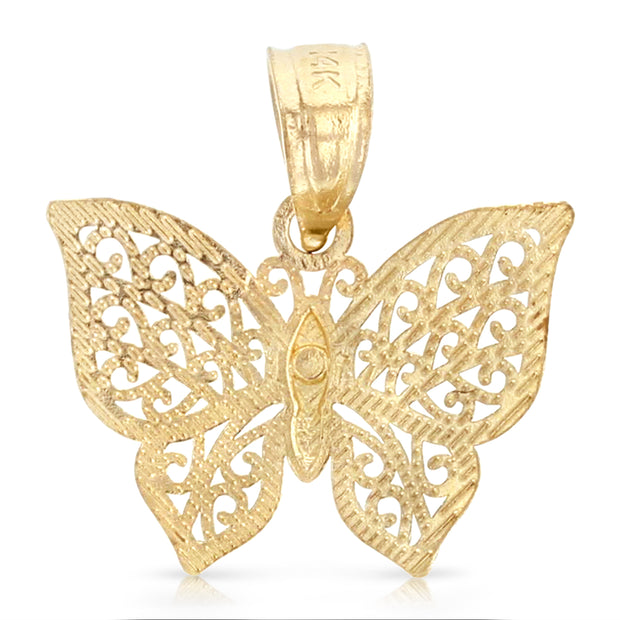 14K Gold Butterfly Pendant with 1.2mm Flat Open Wheat Chain