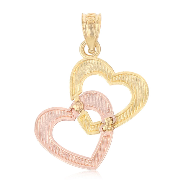14K Gold Double Hanging Heart Charm Pendant with 0.8mm Box Chain Necklace