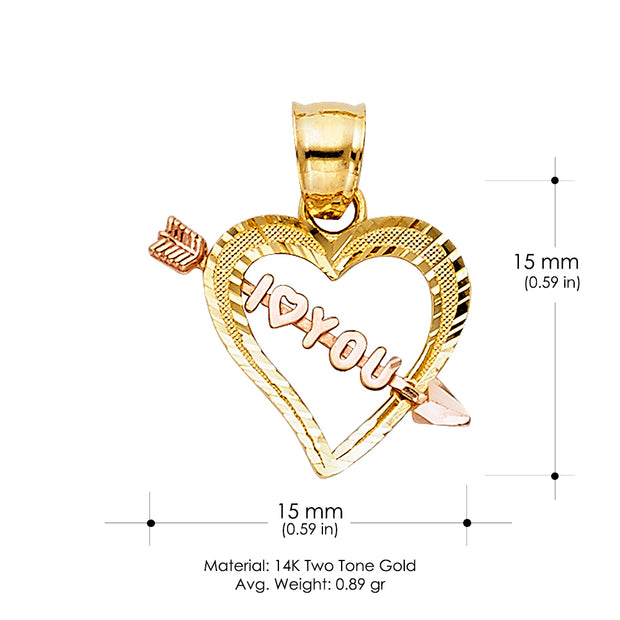 14K Gold 'I Love You' Heart With Cupid Arrow Charm Pendant with 0.8mm Box Chain Necklace