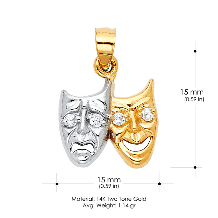 14K Gold Two Face Happy and Sad Charm Pendant