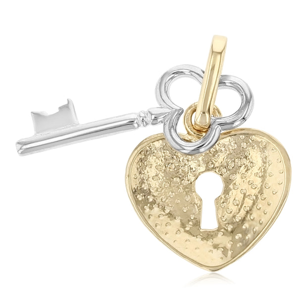 14K Gold Key to Heart Keyhole Charm Pendant with 0.8mm Box Chain Necklace