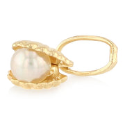 14K Gold Clam Shell with Pearl Charm Pendant with 0.9mm Singapore Chain Necklace