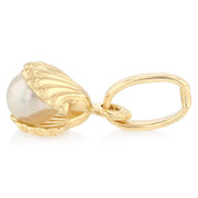 14K Gold Clam Shell with Pearl Charm Pendant with 1.6mm Figaro 3+1 Chain Necklace