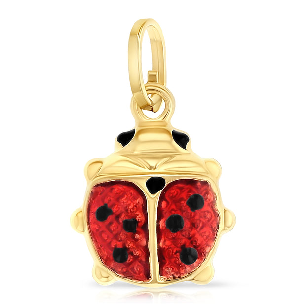 14K Gold Lady Bug Enamel Lucky Charm Pendant with 1.5mm Flat Open Wheat Chain Necklace