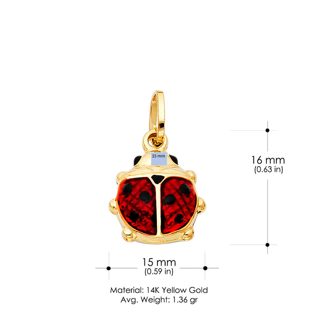 14K Gold Lady Bug Colored Enamel Lucky Charm Pendant