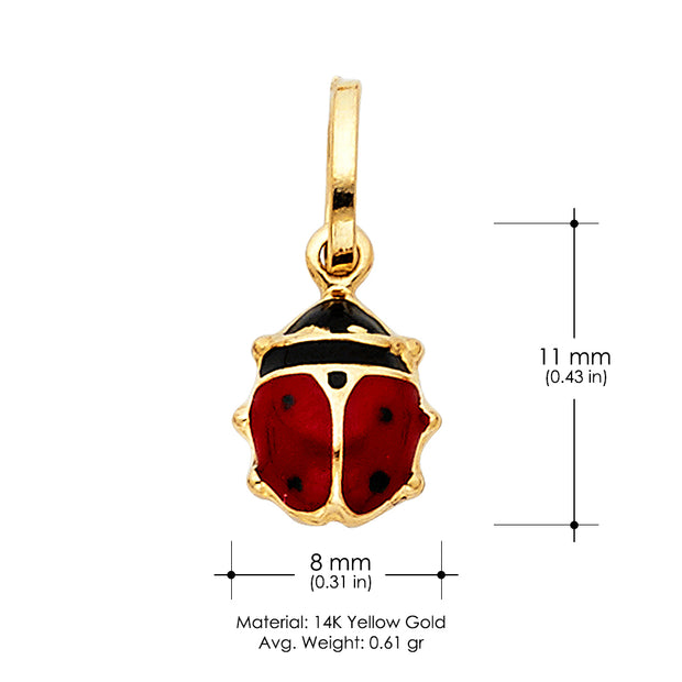 14K Gold Lady Bug Colored Enamel Lucky Charm Pendant with 0.9mm Wheat Chain Necklace