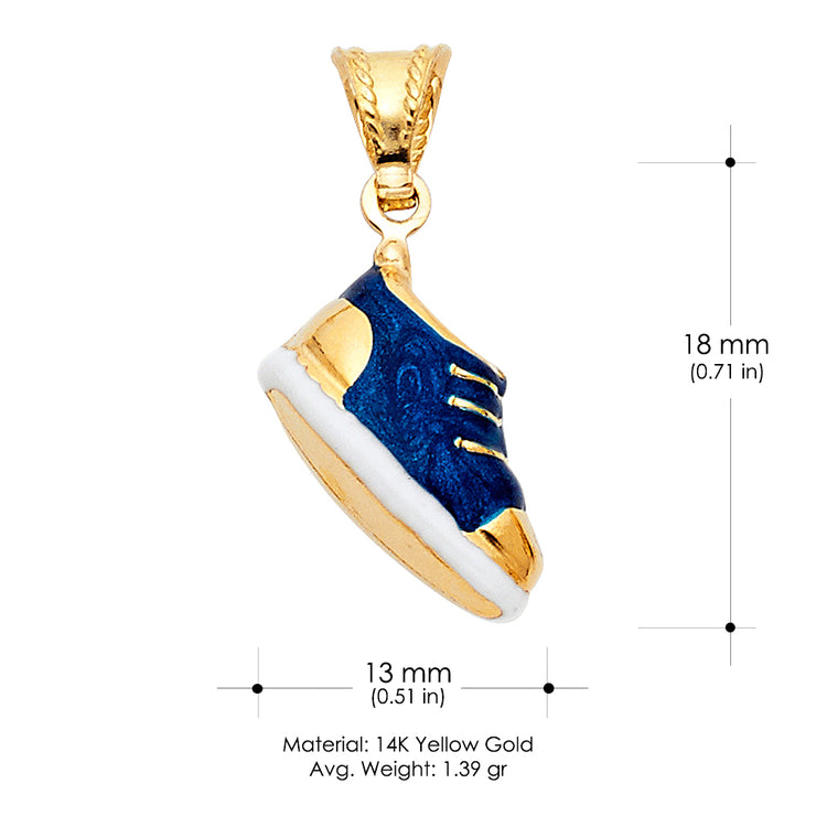 14K Gold Sneaker Blue Color Enamel Charm Pendant