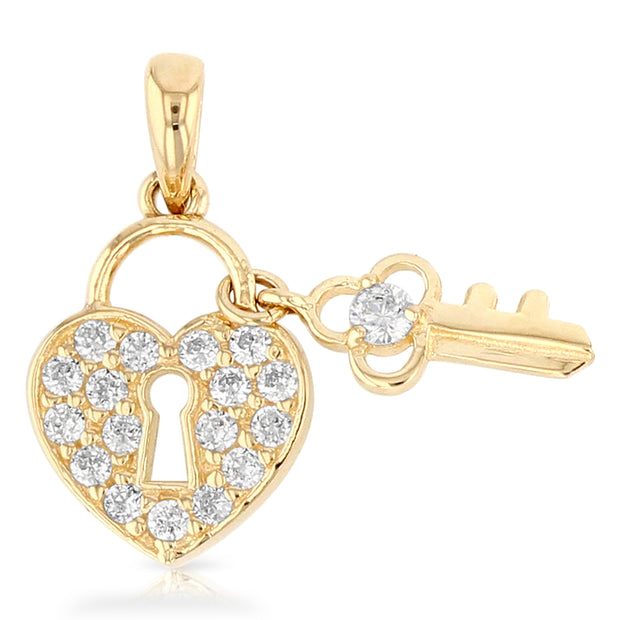 14K Gold Heart Lock & Key Studded CZ Charm Pendant with 1.2mm Flat Open Wheat Chain Necklace