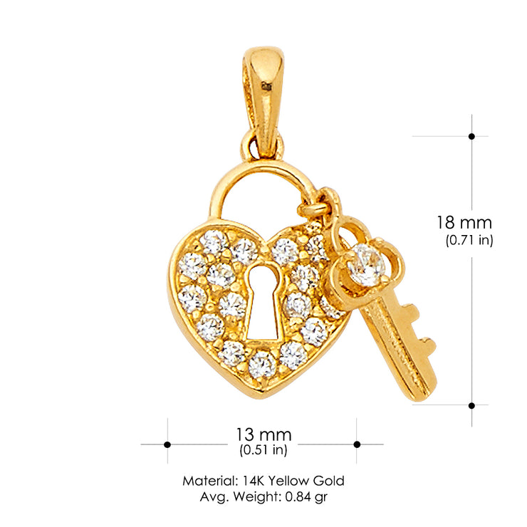 14K Gold Heart Lock & Key CZStudded CZ Charm Pendant