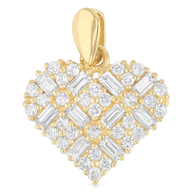 14K Gold Heart Cross Hatch CZ Charm Pendant with 0.9mm Singapore Chain Necklace