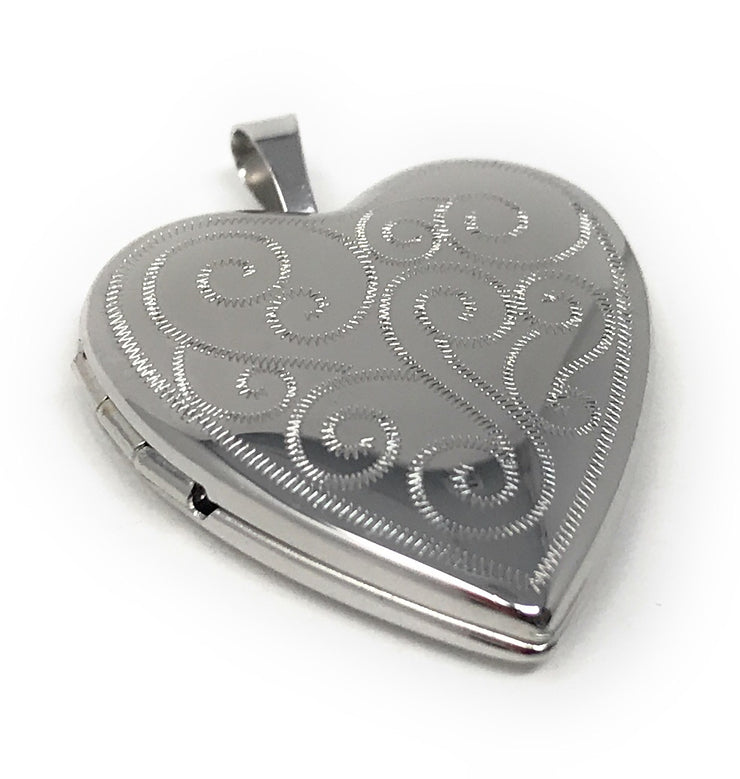 14K Gold Engraved Fancy Heart Locket Charm Pendant