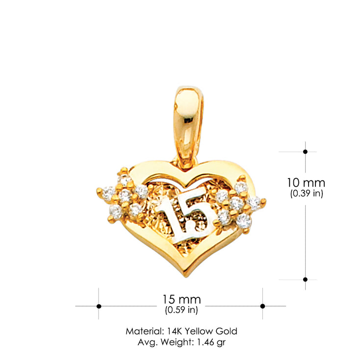 14K Gold 15 Years Birthday Quinceanera CZ Charm Pendant