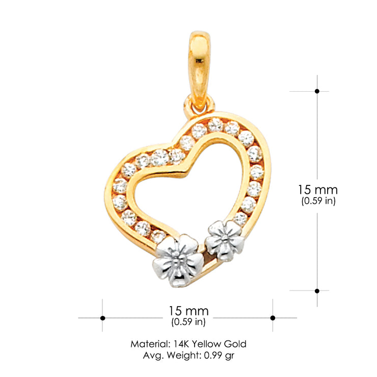 14K Gold Tilted Hollow Heart with Small Flowers CZ Charm Pendant
