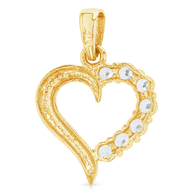 14K Gold Journey Hollow Heart CZ Charm Pendant