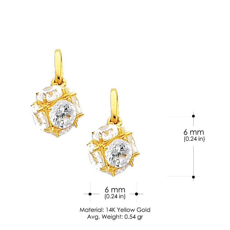 14K Gold Small Cube CZ Charm Pendant