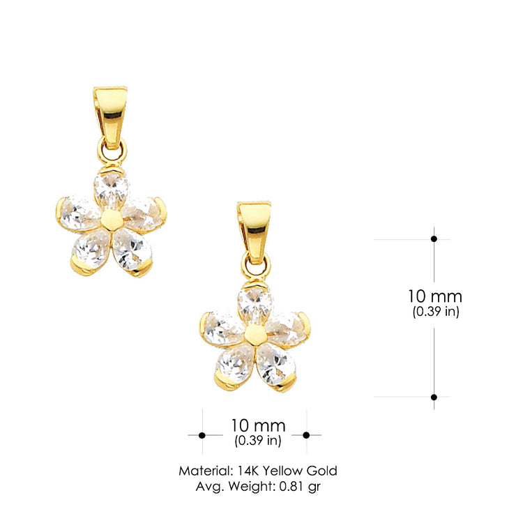 14K Gold Star Flower CZ Charm Pendant