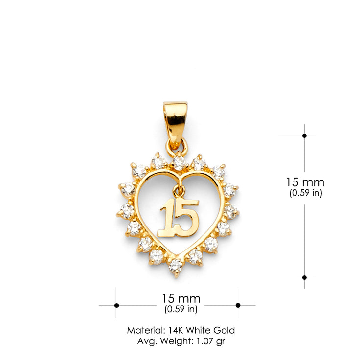 14K Gold Heart 15 Years Birthday Quinceanera CZ Charm Pendant