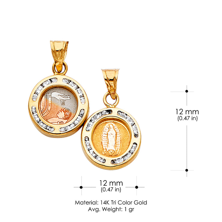 14K Gold Double Sided Round Religious Pendant
