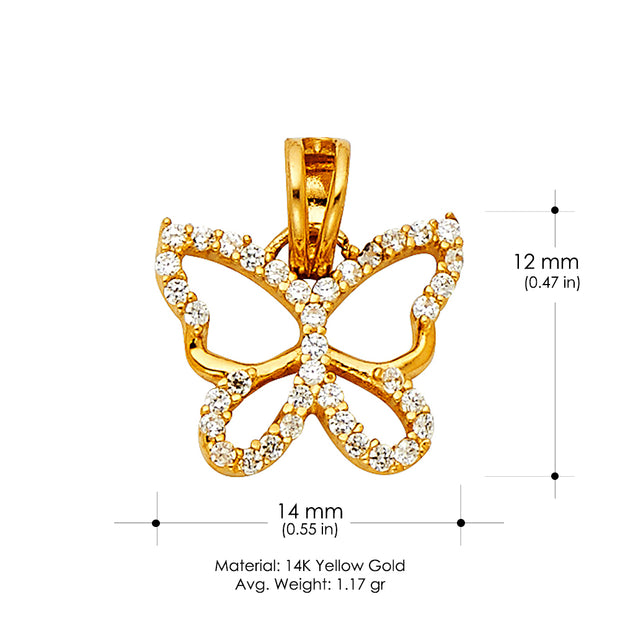 14K Gold CZ Hollow Butterfly Charm Pendant