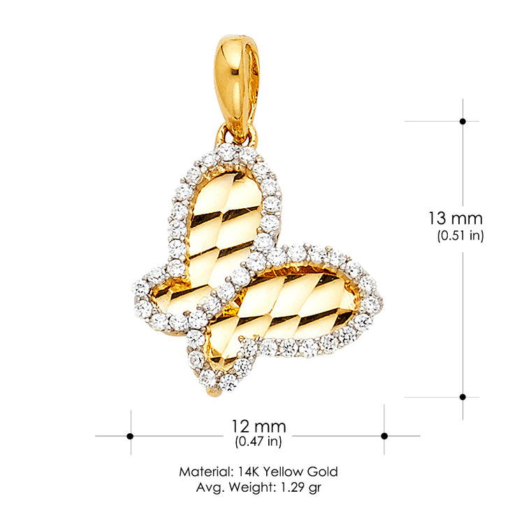 14K Gold CZ Solid Butterfly Charm Pendant